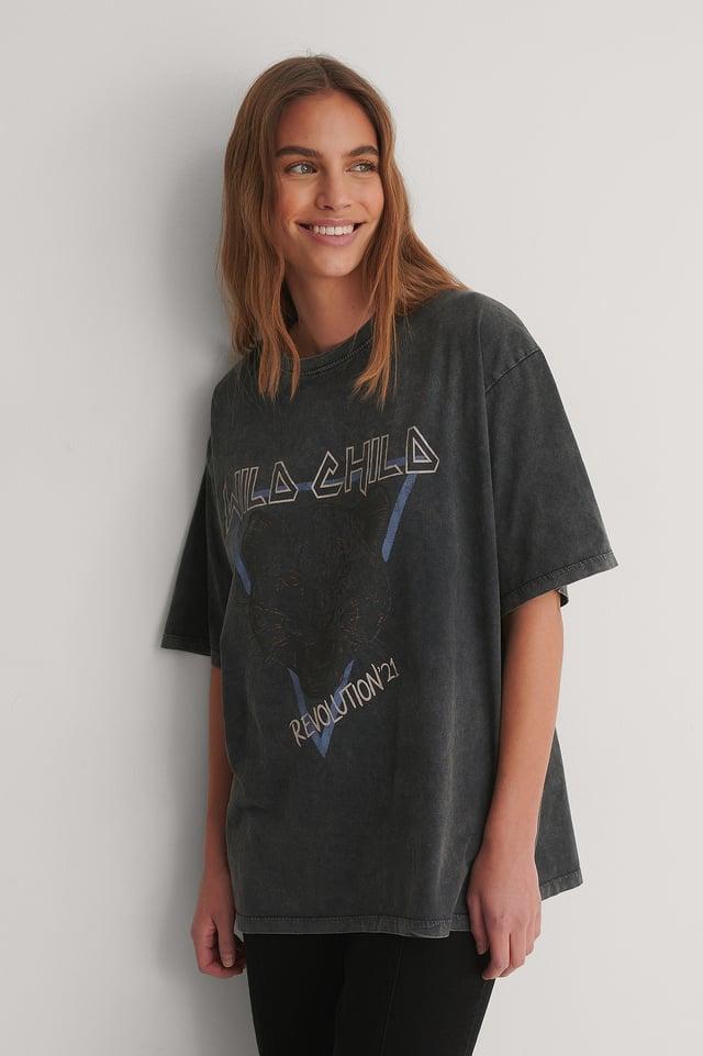 Grey Biologique T-shirt Imprimé