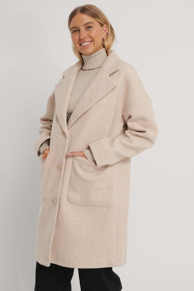Wool Blend Dropped Shoulder Coat Beige