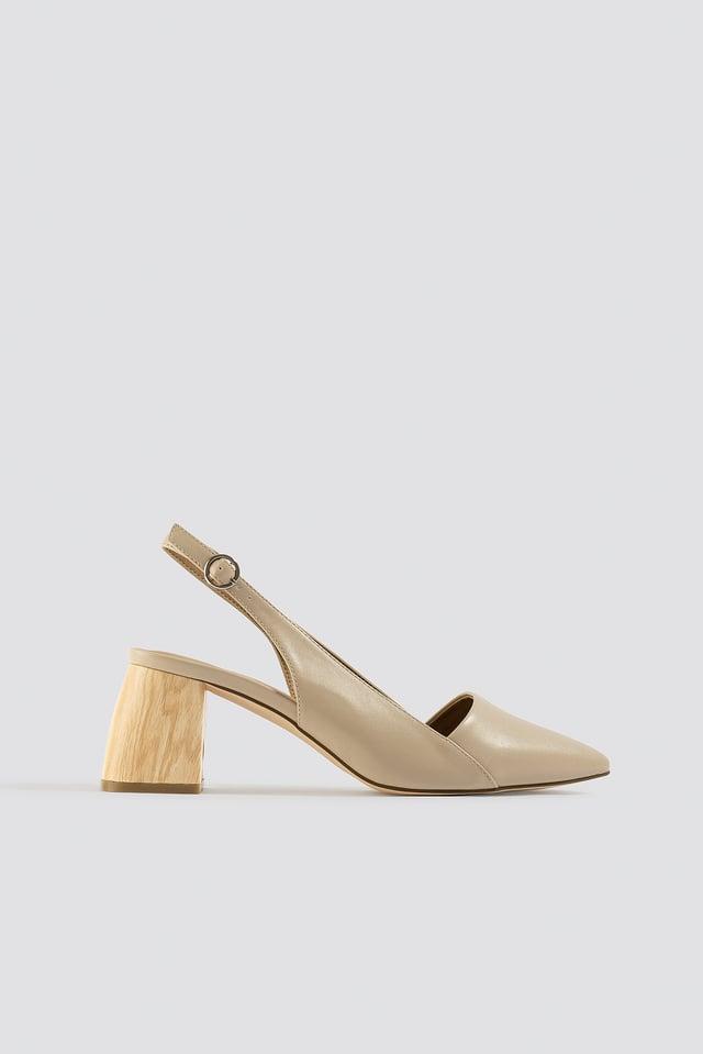Wooden Heel Slingback Pumps Beige