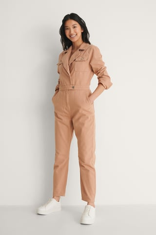 Dusty Pink Biologique Combinaison Pantalon Cache-coeur