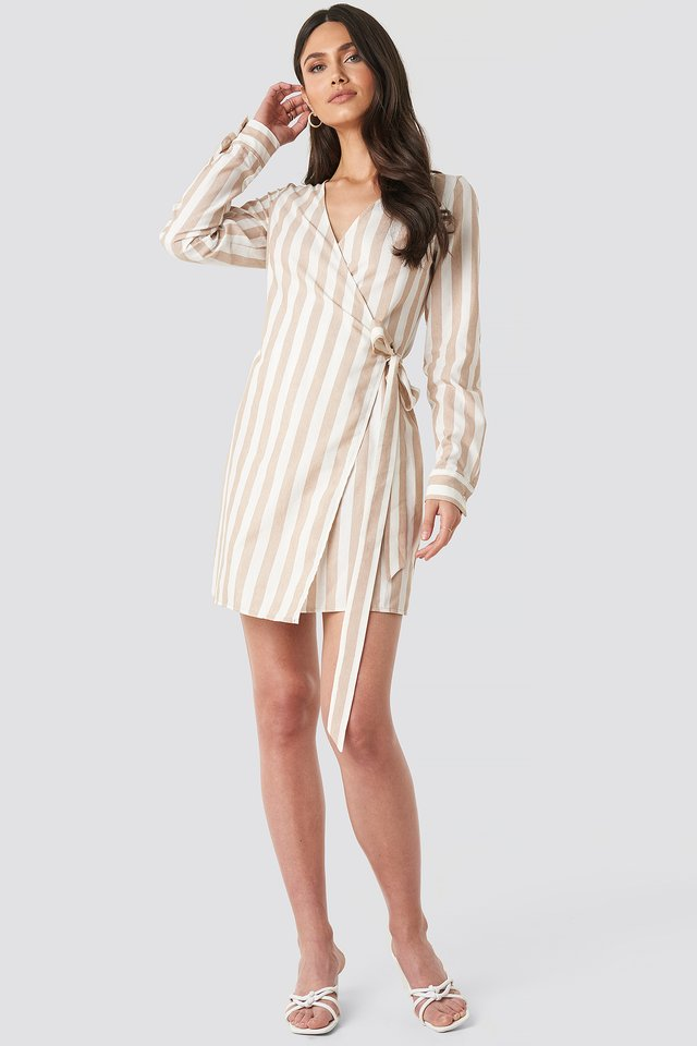 Beige Wrap Over Striped Dress
