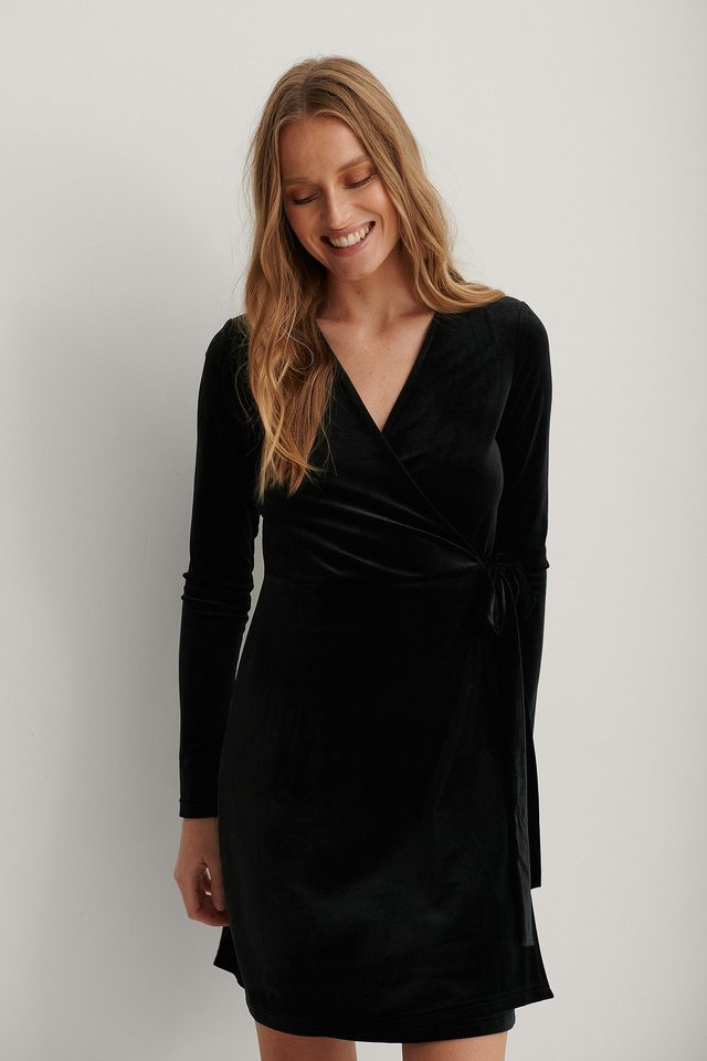 Robe Cache-Coeur En Velours Black