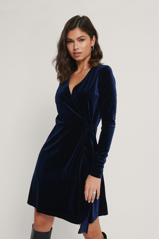 Robe Cache-Coeur En Velours Dark Blue