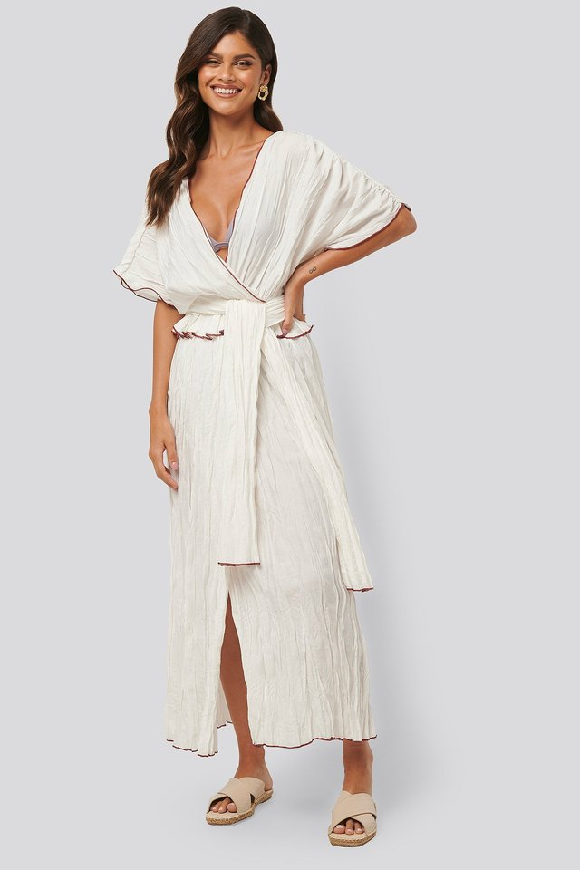 White Wrinkle Effect Maxi Kaftan