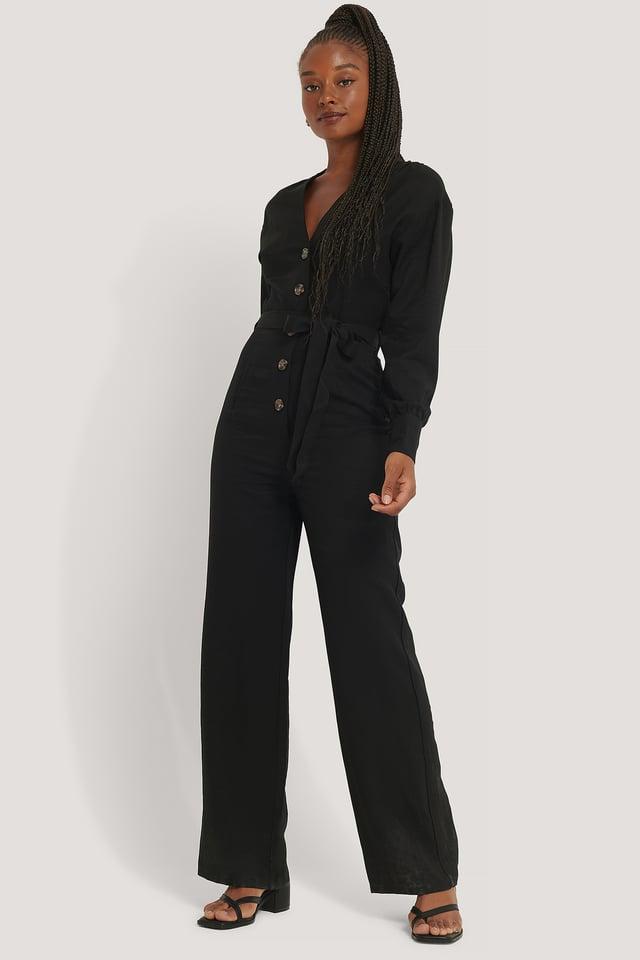 Black Wrinkle Shoulder Jumpsuit