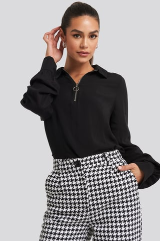 Black Zip Detail Blouse