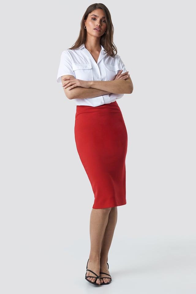Zip Detail Bodycon Midi Skirt Red