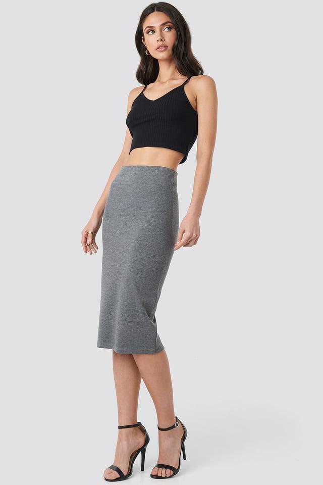 Zip Detail Bodycon Midi Skirt Grey