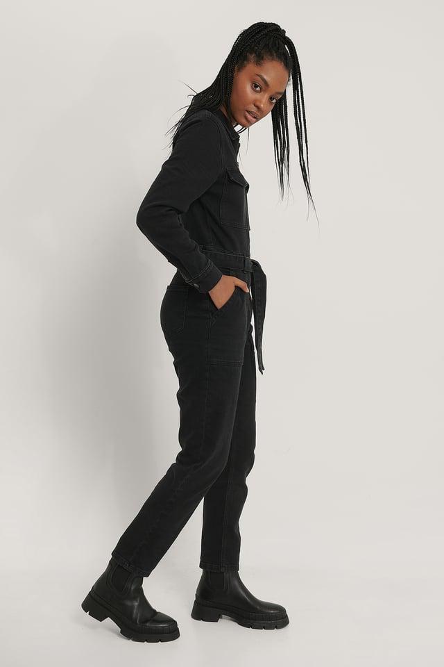 Combinaison Pantalon En Jean Zippée Black