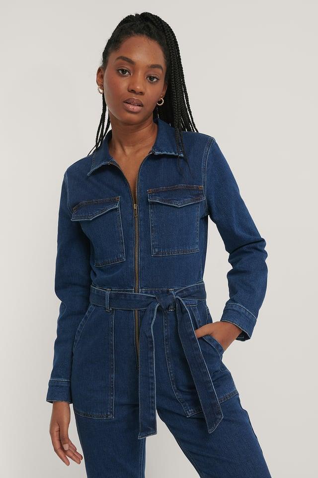 Combinaison Pantalon En Jean Zippée Mid Blue