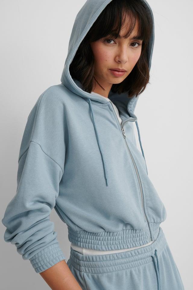 Dusty Blue Biologique Sweatshirt Zippé