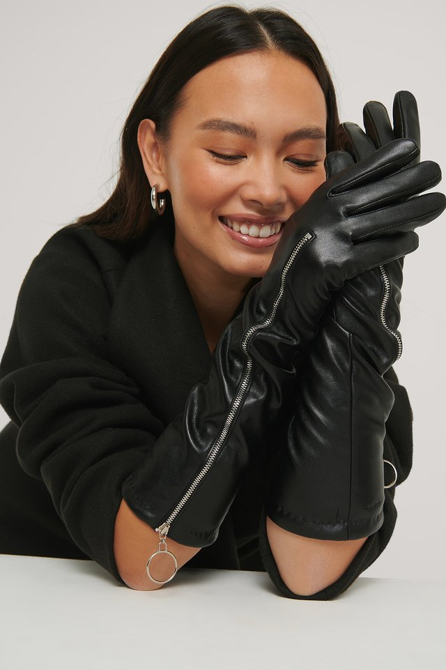 Gants Longs Zippés Black