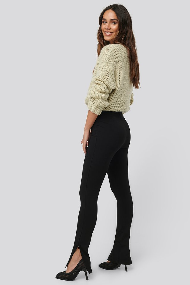 Black Zip Detail Long Jersey Pants