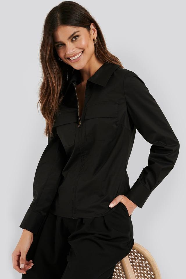 Zip Pocket Shirt Black
