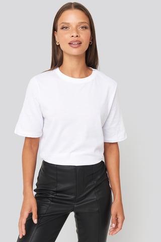 White Tee-Shirt À Col Rond Haut