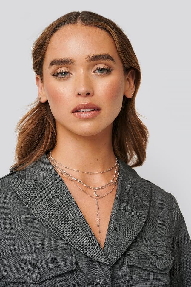 Silver Multi Pearl Moon Drop Necklaces