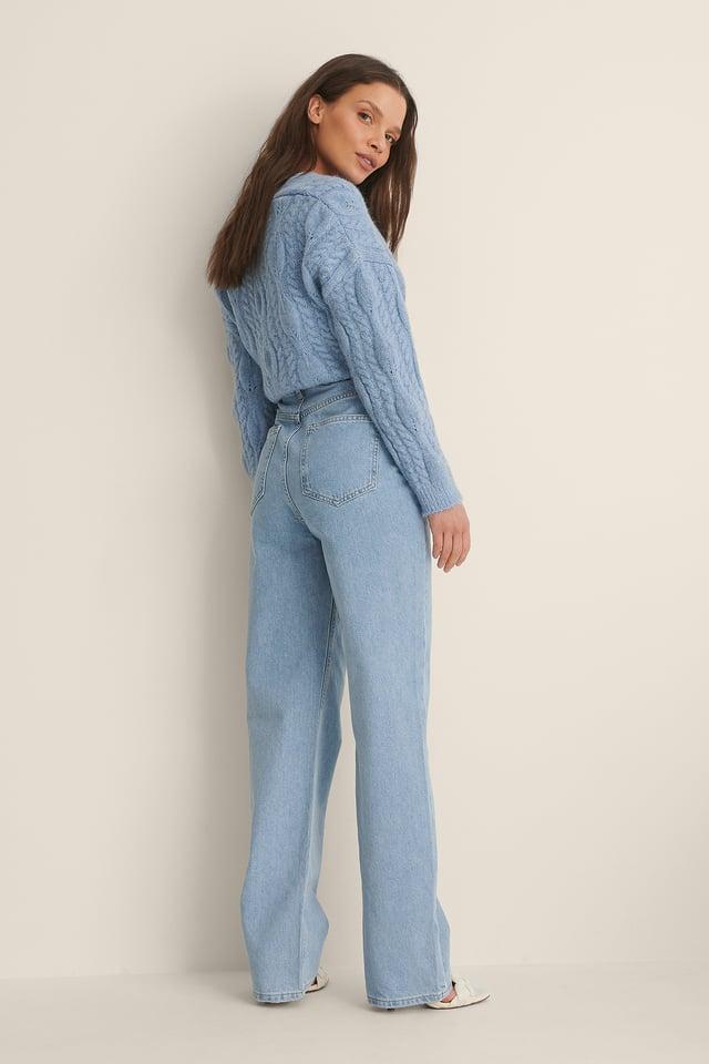 Vintage Blue Biologiques Jean Large Taille Haute