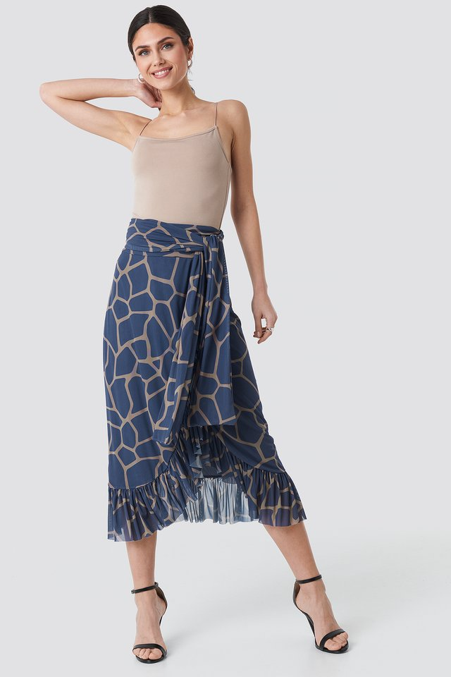 Mesh Tied Waist Ankle Skirt Geometric Blue Print