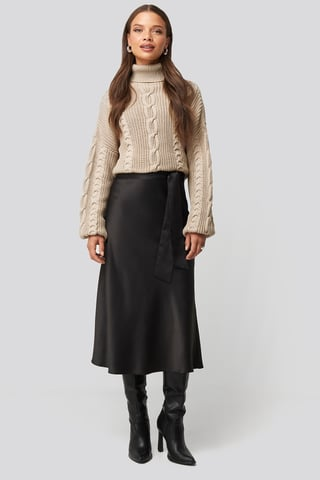 Black Tie Waist Satin Skirt
