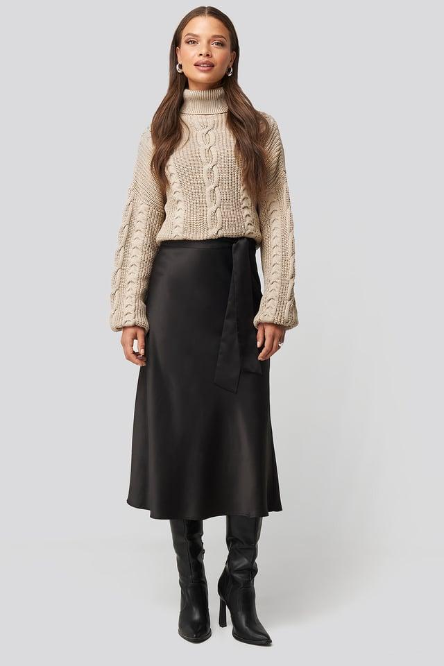 Tie Waist Satin Skirt Black