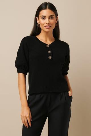 Black Vintage Look Knitted Top