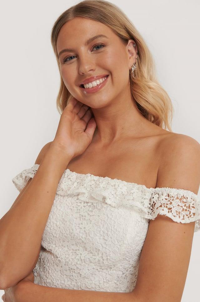 Recyclé Haut Dentelle À Épaules Dénudées White