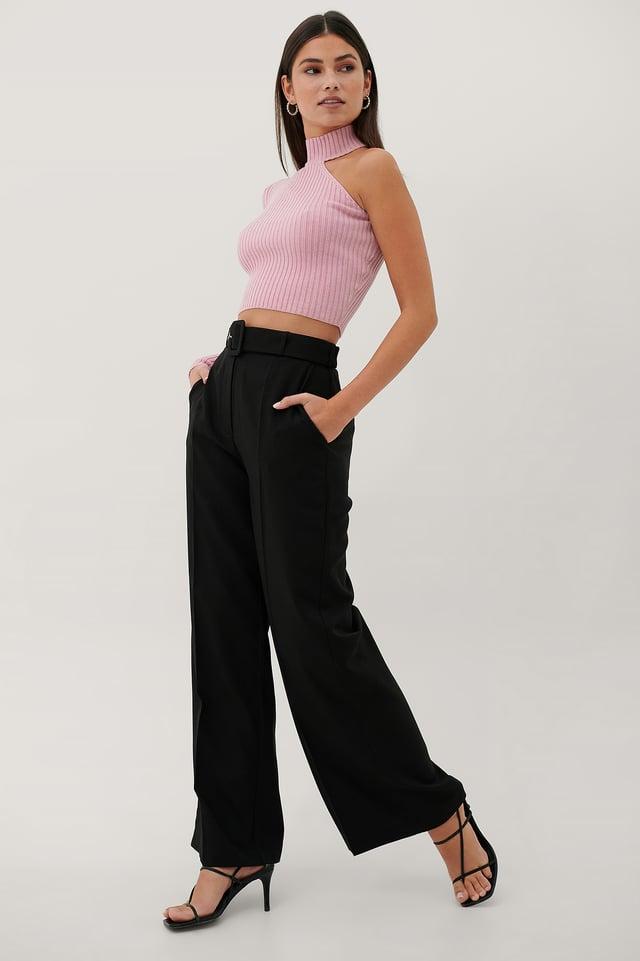 Pantalon De Costume Taille Haute Black