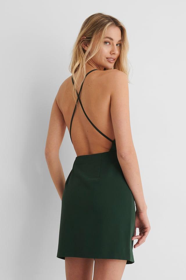 Green Robe Mini Croisée Dans Le Dos