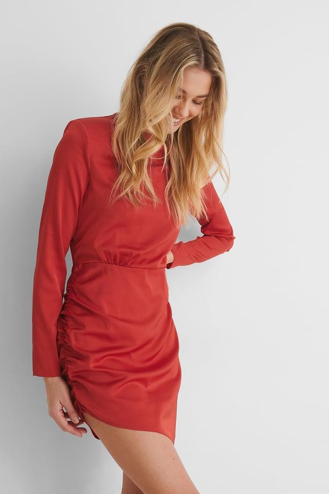 Red Recyclée Robe Mini À Détail Sur Les Épaules
