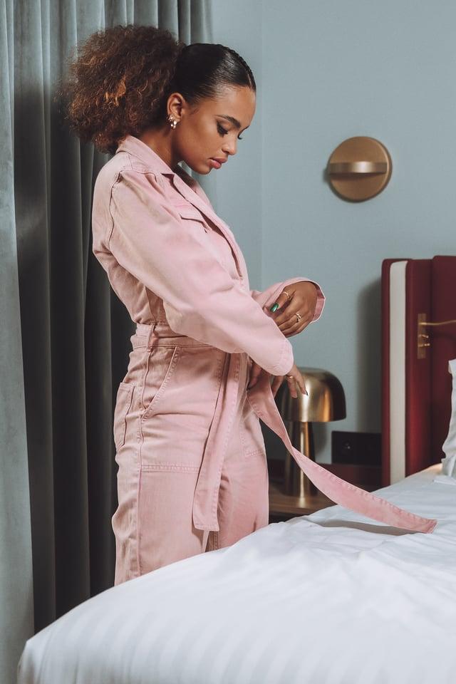 Pink Combinaison Pantalon Jean À Ceinture