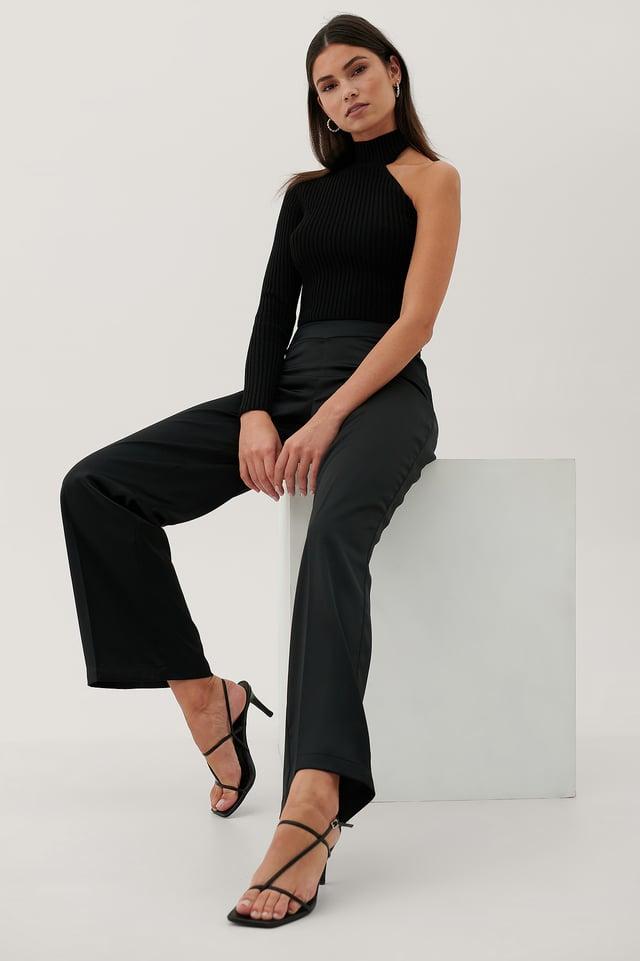 Recyclé Pantalon Taille En V Black