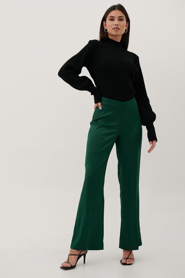 Recyclé Pantalon Taille En V Emerald Green