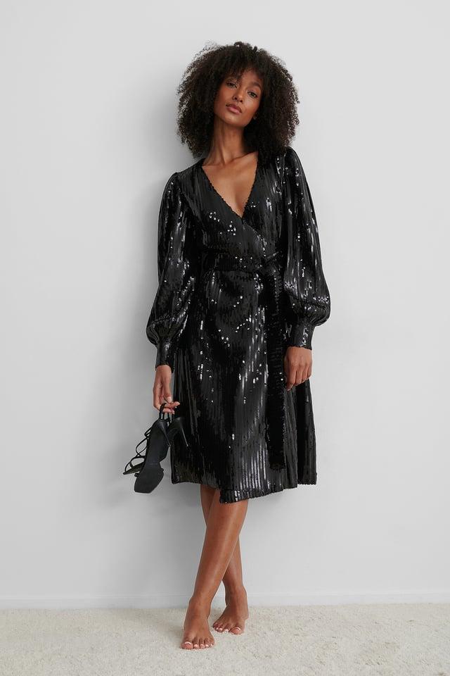 Robe Midi À Paillettes Black