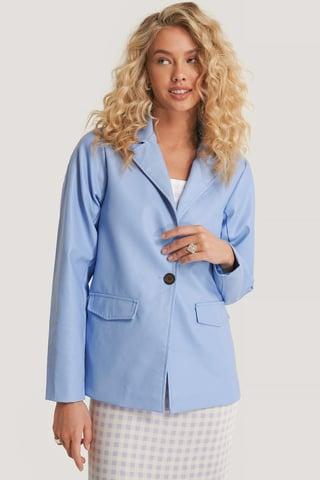 Pastel Blue Blazer Faux Cuir