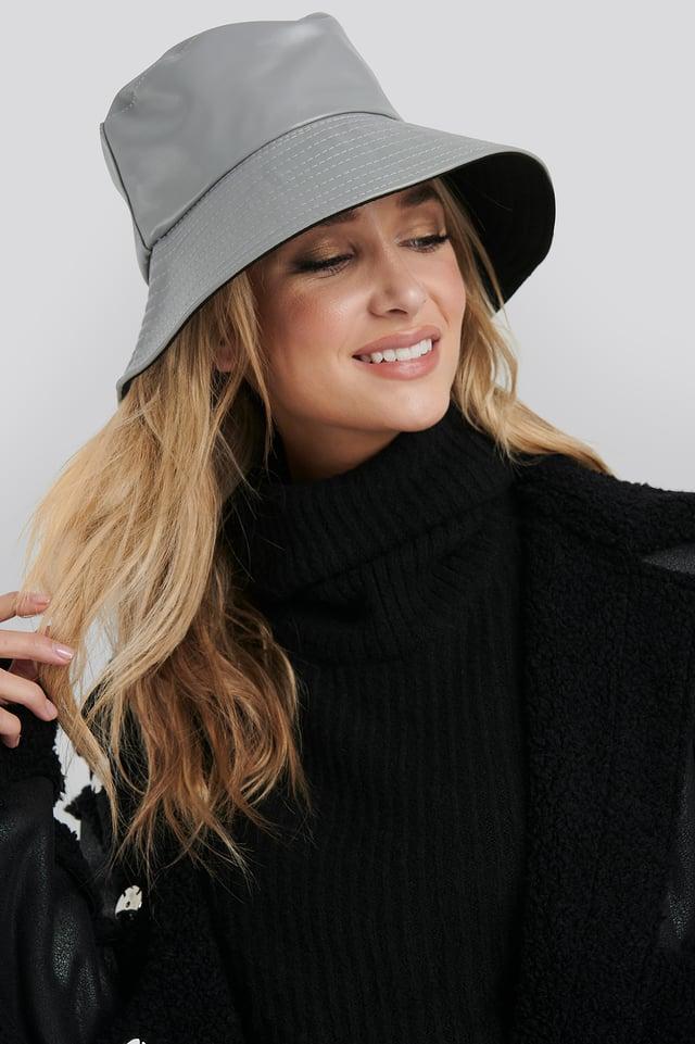 Grey PU Bucket Hat