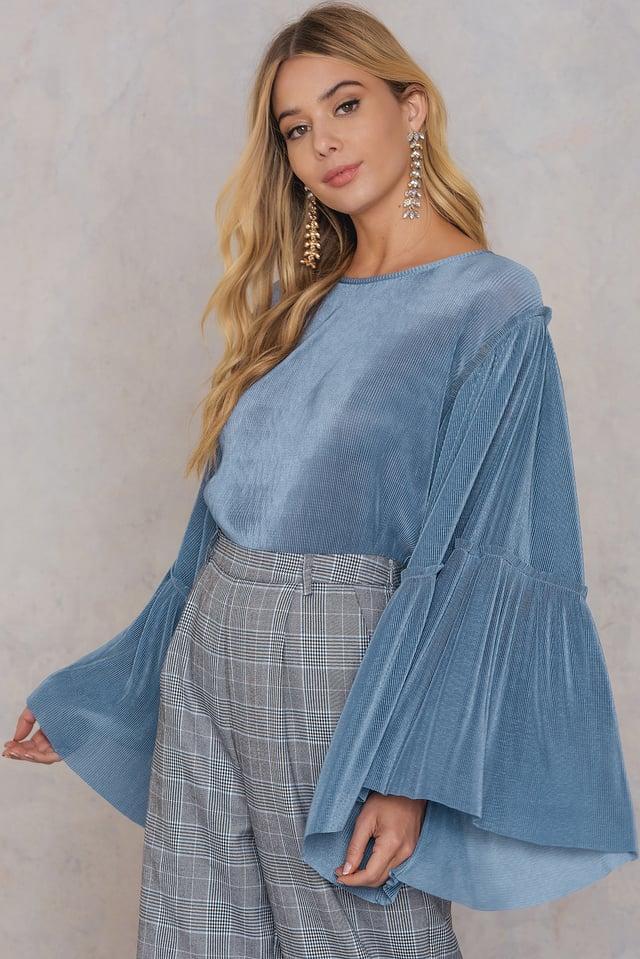 Plisse Wide Sleeve Top Stone Blue