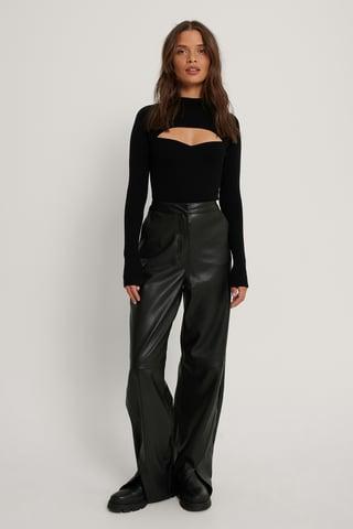 Black Pantalon Faux Cuir