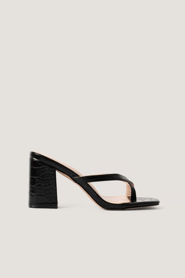 Black Croc Pu Zora Sandal