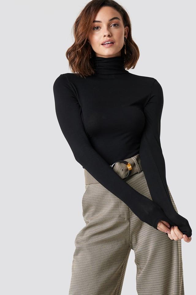Viscose Long Sleeve Polo Top Black