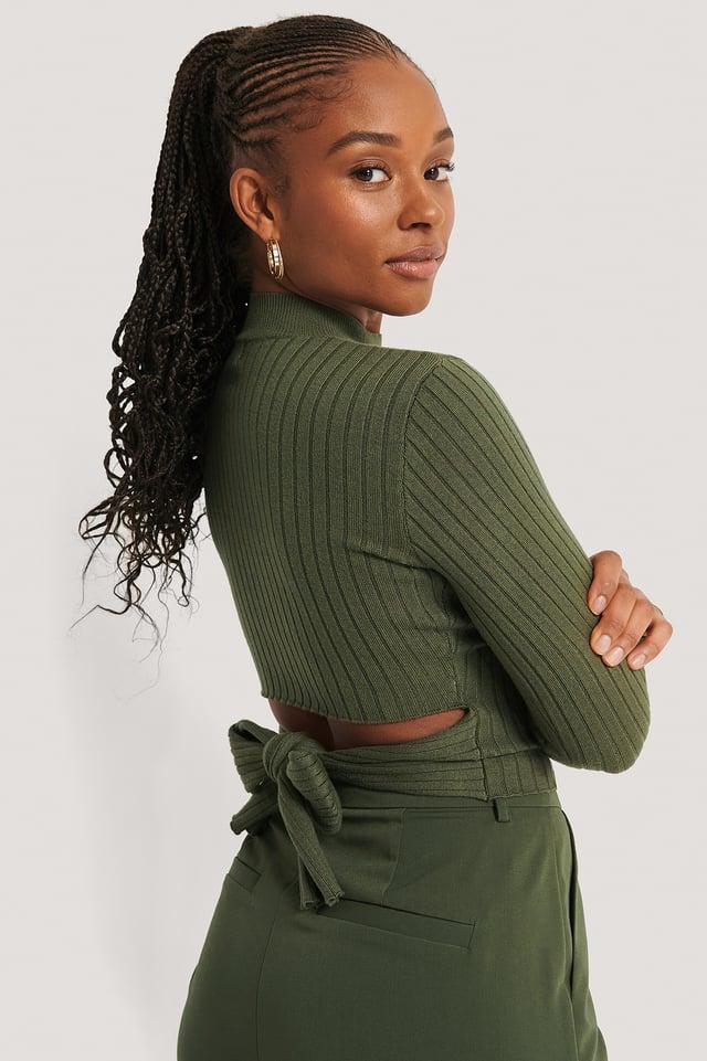 Dark Green Haut En Tricot Noué Au Dos
