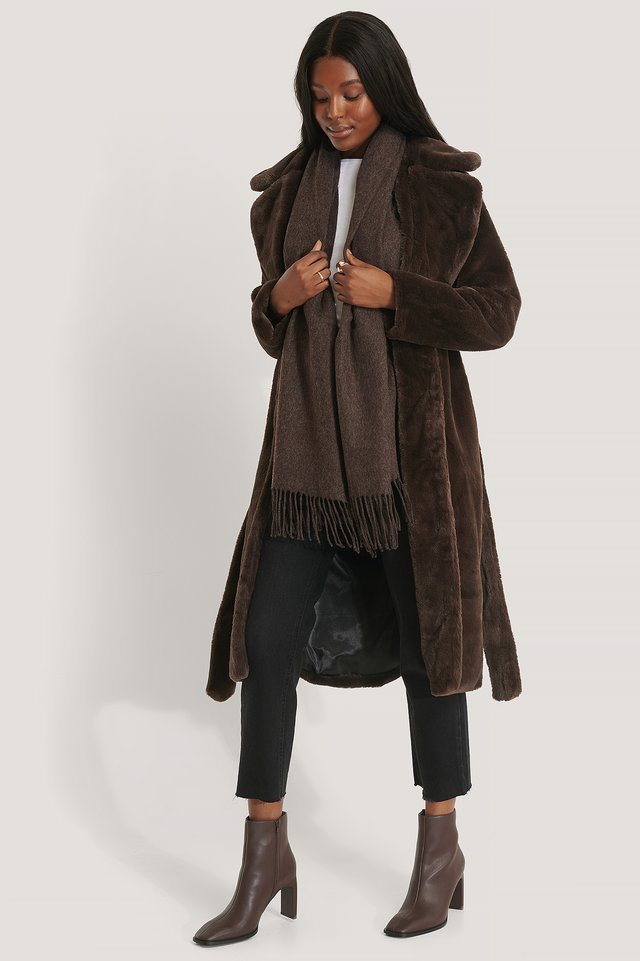 Manteau Fausse Fourrure Dark Brown