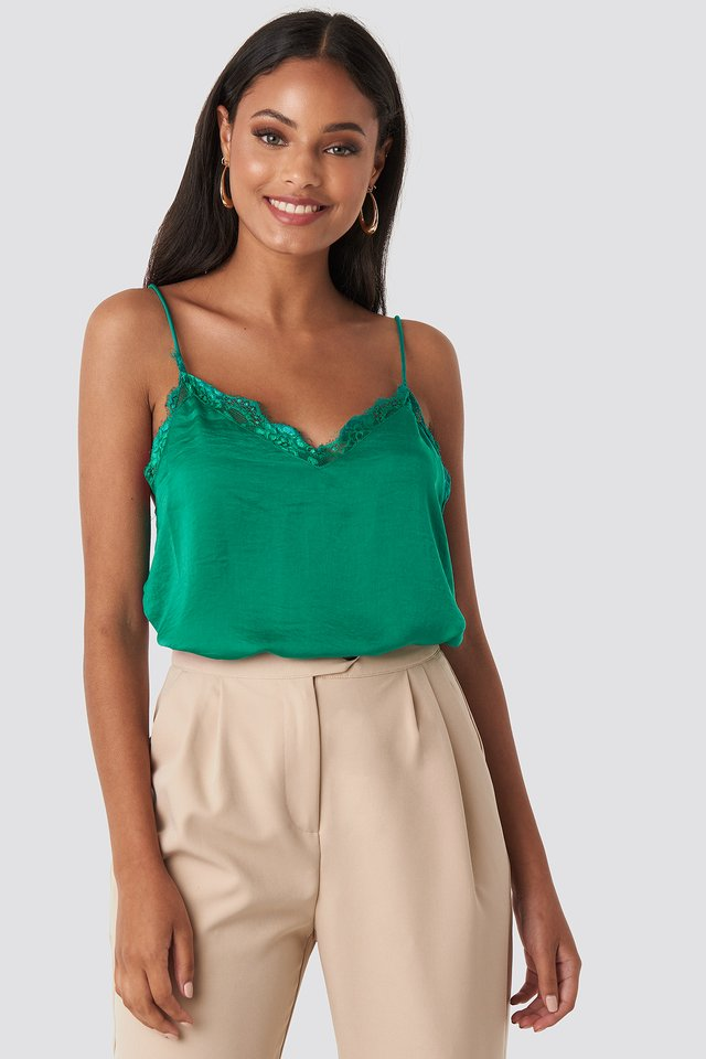 Preppy Green Stine Lace Singlet