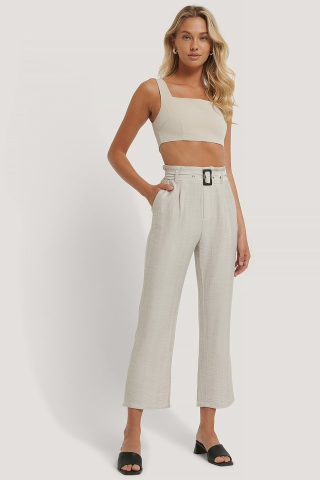 Pantalon Ceinturé Light Beige