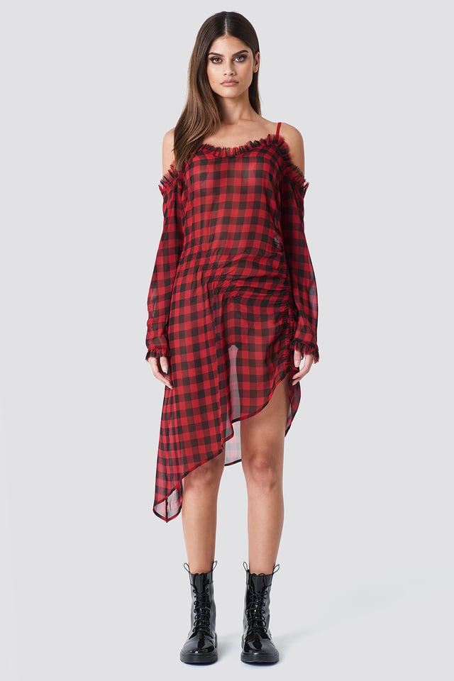 Checked Checked Transparent Asymmetric Dress