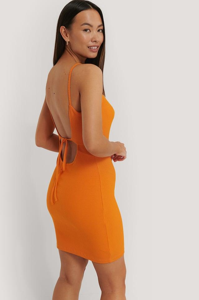 Orange Robe En Jersey Côtelé À Dos Ouvert