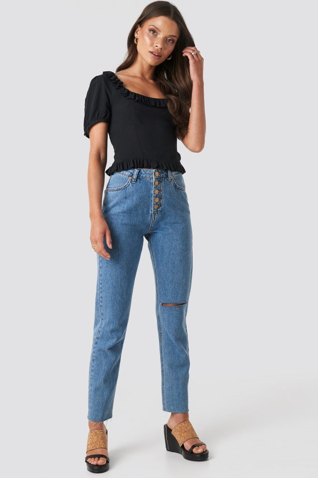 Black Colleen Cropped Frill Top
