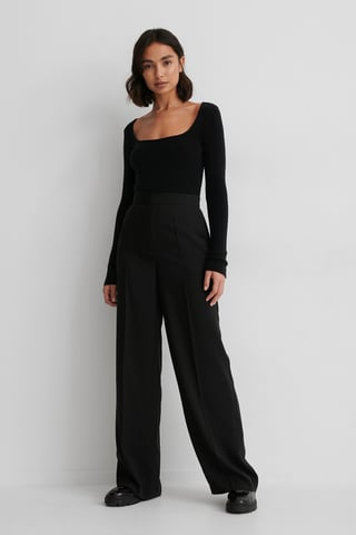 Black Recyclé Pantalon De Costume Taille Haute