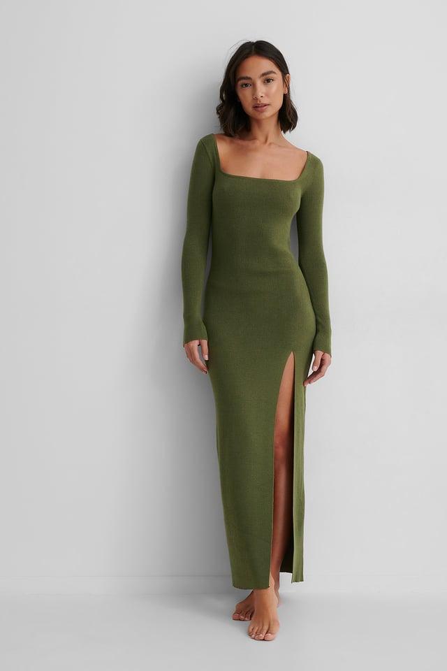 Recyclée Robe Midi Tricotée Dark Green
