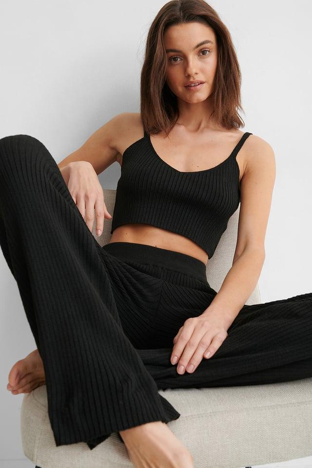 Pantalon Côtelé Black