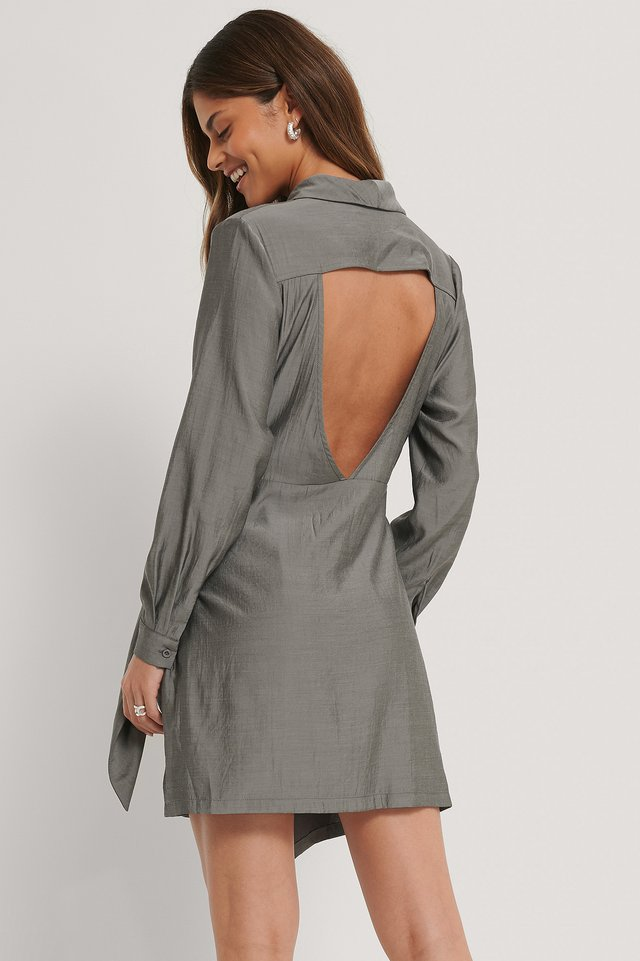 Dark Grey Robe Dos Ouvert